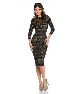 Rochie de seara dantela neagra 9305-1 - ROCHII DE SEARA SI OCAZIE - Pentru ocazii
