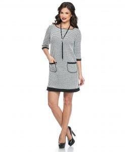 Rochie de zi alb-negru 384 - ROCHII DE ZI - Pentru fiecare zi