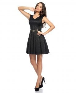 Rochie de zi brocard negru 9274 -1 - ROCHII DE ZI - Pentru fiecare zi