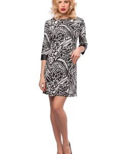 Rochie eleganta alb-negru 9397-1 - ROCHII DE ZI - Pentru fiecare zi