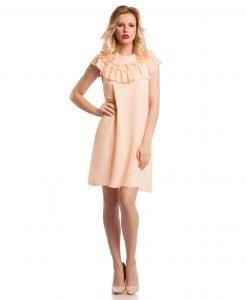 Rochie eleganta de zi voal orange 9364 - ROCHII DE ZI - Pentru fiecare zi