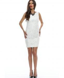 Rochie eleganta din dantela alba 9357 - ROCHII DE SEARA SI OCAZIE - COCKTAIL