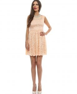 Rochie eleganta din dantela somon 9358-2 - ROCHII DE SEARA SI OCAZIE - COCKTAIL