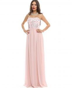 Rochie lunga de seara din voal si dantela roz 9356 - ROCHII DE SEARA SI OCAZIE - NUNTA