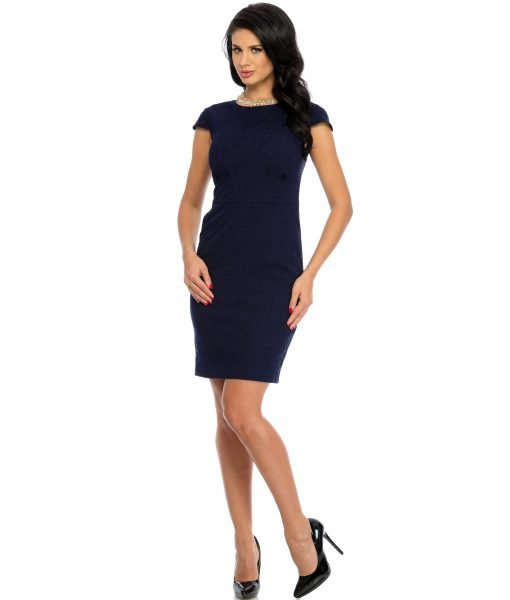 Rochie office brocard bleumarin 9331-1 – ROCHII OFFICE – BUSINESS