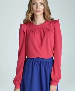 Romantic Fuschia Long-Sleeve Blouse With Ruffles - Blouses -