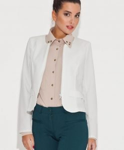 Round Neck Ecru Blazer with Semi Zipper Fastening - Outerwear > Jackets and coats -