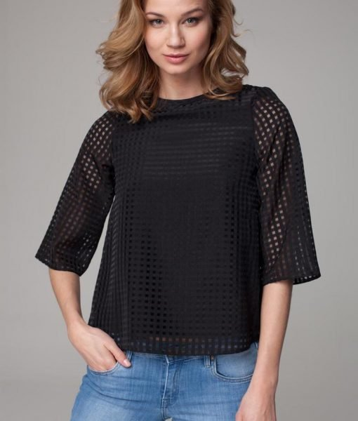 Sheer black bouncy blouse with high neckline – Blouses –