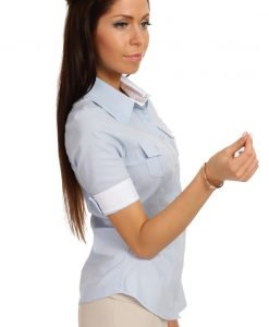 Slim Fit Seam Collared Sky Blue Shirt with Flap Chest Pocket - Shirts > Shirts Short Sleeve -