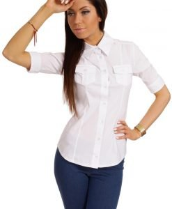 Slim Fit Seam Collared White Shirt with Flap Chest Pocket - Shirts > Shirts Short Sleeve -