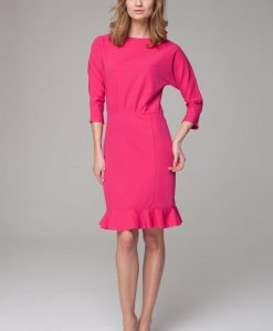 Sophisticated pink midi dress with bateau neckline - Dresses -