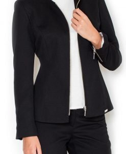 Straight Cut Elegant Black Blazer with Zipper Cuffs - Outerwear > Blazers -