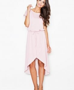 Trendy Pink Dress With Drawstring Belt and Overlap Skirt - Dresses -
