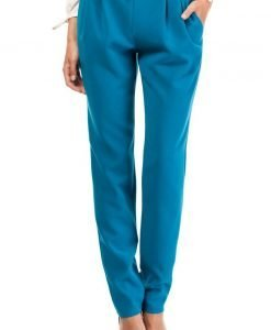 Turquoise Satin Chino Trousers With Pockets - Trousers -
