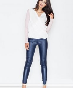 V-Neckline White/Pink Crossover blouse with Contrast Back - Blouses > Blouses Long Sleeve -