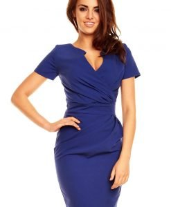 Wrap Around Self Belted Sheath Blue Dress - Dresses -