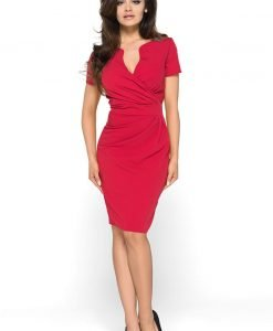 Wrap Around Self Belted Sheath Red Dress - Dresses -