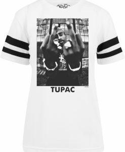 2Pac Stripes Tee pentru Femei alb Mister Tee - Tricouri cu trupe - Mister Tee>Trupe>Tricouri cu trupe