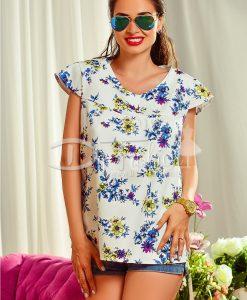 Bluza Alba cu Imprimeuri Florale - Haine - Bluze/Camasi