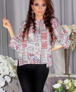 Bluza Patrizia Cu Imprimeuri Roz - Haine - Bluze/Camasi