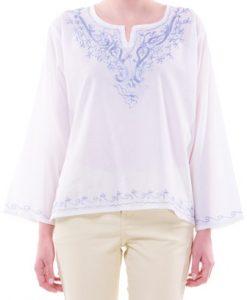 Bluza alb cu bleu tip ie din bumbac B67 - Ie romaneasca -