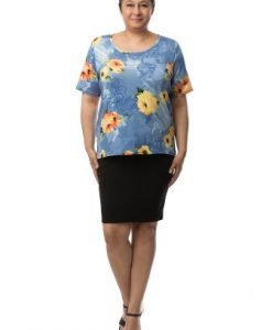 Bluza albastra cu imprimeu trandafiri CSF-040 - Marimi mari -