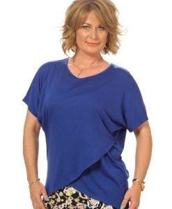 Bluza albastra petrecuta din vascoza B052-A - Marimi mari -