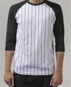 Bluza baseball contrast cu maneci trei sferturi alb-negru Urban Classics - Tricouri urban - Urban Classics>Barbati>Tricouri urban