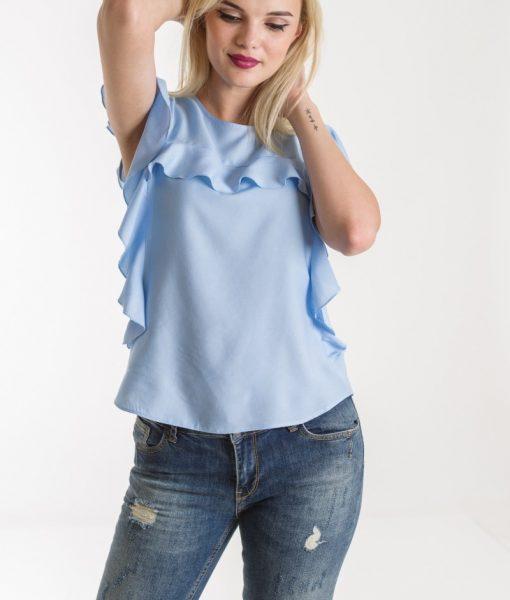 Bluza bleu de vara cu volane – BLUZE –