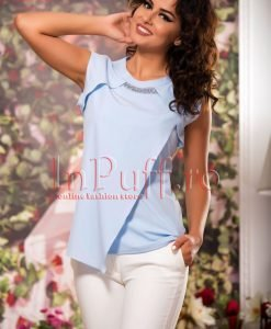 Bluza bleu lejera de vara cu pietricele la gat - BLUZE -