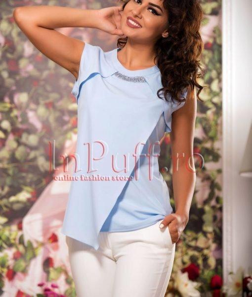 Bluza bleu lejera de vara cu pietricele la gat – BLUZE –