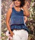 Bluza bleumarin lejera de vara cu snur la spate - BLUZE -