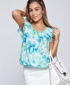 Bluza dama LaDonna verde-deschis eleganta cu elastic in talie cu imprimeu floral - Bluze -