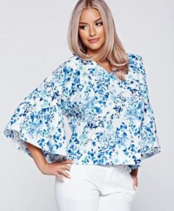 Bluza dama PrettyGirl alba cu croi larg din bumbac cu maneci clopot - Bluze -