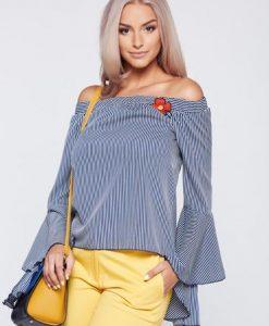 Bluza dama PrettyGirl albastru-inchis casual cu maneci clopot - Bluze -