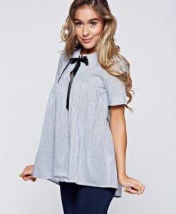 Bluza dama PrettyGirl gri din bumbac cu croi larg - Bluze -