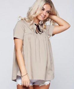 Bluza dama PrettyGirl maro din bumbac cu croi larg - Bluze -
