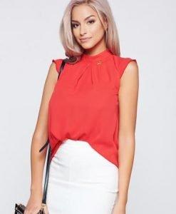 Bluza dama PrettyGirl rosie din material vaporos fara maneci - Bluze -