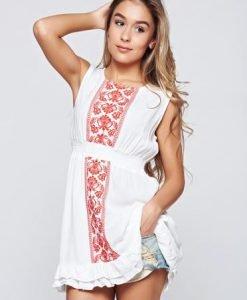 Bluza dama StarShinerS alba brodata cu elastic in talie - Bluze -