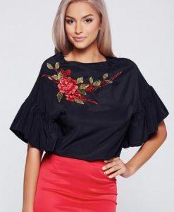 Bluza dama StarShinerS neagra brodata eleganta cu maneca scurta - Bluze -