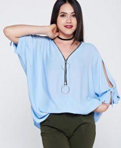 Bluza dama albastra-deschis casual cu croi larg din material vaporos - Bluze -