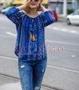 Bluza dama albastra lejera din vascoza cu imprimeu si ciucuri - BLUZE -