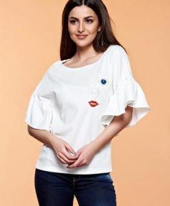 Bluza dama brodata StarShinerS alba cu maneci tip fluture - Bluze -