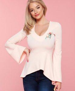 Bluza dama brodata cu decolteu StarShinerS rosa cu maneci clopot - Bluze -