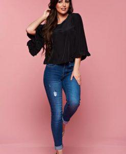 Bluza dama casual StarShinerS neagra din material vaporos - Bluze -