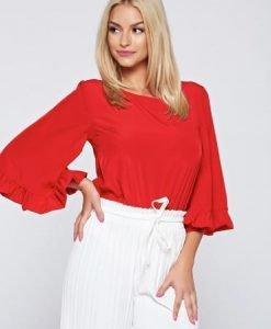 Bluza dama casual StarShinerS rosie din material vaporos - Bluze -