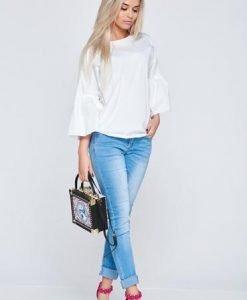 Bluza dama casual din bumbac PrettyGirl alba cu maneci clopot - Bluze -