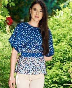 Bluza dama cu croi larg cu print PrettyGirl albastra din material vaporos - Bluze -