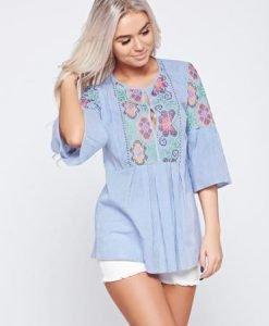 Bluza dama din bumbac cu croi larg LaDonna albastra cu maneca 3/4 - Bluze -