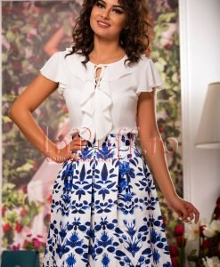 Bluza dama eleganta din voal ivoire cu volanase - BLUZE -